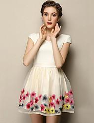 Mousseline de Soie Robe Femme Sortie Vintage,Fleur Col en V Mini Manches Courtes Beige Polyester Eté Taille Normale Non Elastique Fin
