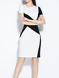 Women's Work / Plus Size Simple Bodycon / Sheath Dress,Color Block Asymmetrical Above Knee Short Sleeve White Polyester Summer