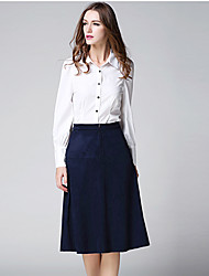 MISS FRENCH  Work Simple Spring / Fall Shirt SkirtSolid Shirt Collar Long Sleeve White Polyester Medium