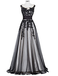 A-Line Jewel Neck Floor Length Lace Evening Dress with Beading