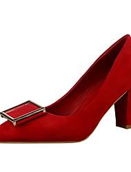 Damen-High Heels-Hochzeit-PU-Stöckelabsatz-Pumps-Rot