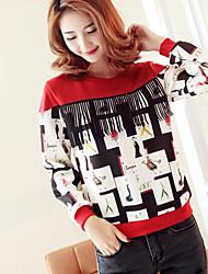 Sweatshirt Femme Décontracté / Quotidien simple Mosaïque Col Arrondi Micro-élastique Coton Manches Longues Automne