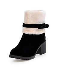 Women's Boots Fall / Winter Fashion Boots  Casual Chunky Heel Fur Black / Beige Others
