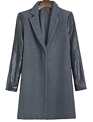 Boutique S Women's Going out  CoatSolid Peaked Lapel Long Sleeve Winter Gray Wool Opaque