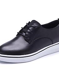 Черный / Белый-Женский-Для офиса / На каждый день-Кожа-На платформе-Удобная обувь / С круглым носком-На плокой подошве