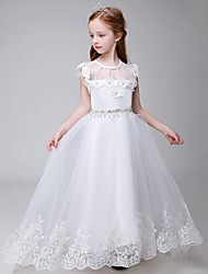 Ball Gown Chapel Train Flower Girl Dress - Tulle Sleeveless Jewel with Appliques / Beading