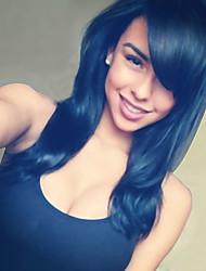 стильные длинные волнистые человеческие волосы монолитным парик 22 дюймов