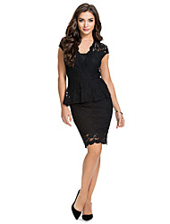Women's Lace Backless Deep Neck Fashion Dress