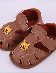 Unisex Sandals Summer Comfort PU Casual Flat Heel Magic Tape Brown / Beige Others