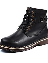 Унисекс Ботинки Удобная обувь Кожа Осень Зима Повседневные Удобная обувь Шнуровка На плоской подошве Черный Коричневый На плоской подошве