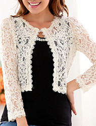 Women's Lace Casual/Daily Simple Fall Wrap,Solid Crew Neck Long Sleeve Beige/Black Spandex Thin