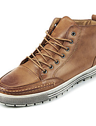 Men's Boots Spring / Summer / Fall / Winter Comfort Leatherette Casual Flat Heel Stitching Lace Black / Tan High Men's Shoes