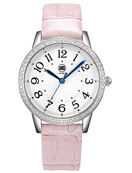 Victoria Silver Case White Dial Pink Leather Strap Watch