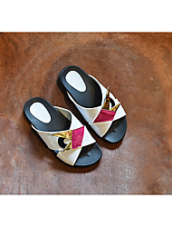 Unisex Slippers & Flip-Flops Summer Flip Flops Microfibre Casual Flat Heel Others Black / White Others