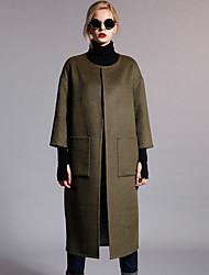 Damen Solide Einfach Lässig/Alltäglich Mantel,Herbst / Winter Rundhalsausschnitt Langarm Rot / Grün Undurchsichtig Wolle / Polyester