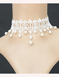 New Fashion 2016 Elegant Vintage Imitation Pearl White Lace Chokers Necklaces Bridal Wedding Jewelry For Women