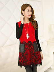 Women's Patchwork Round Neck Above Knee Long Sleeve Red / Black Polyester Fall High Rise Inelastic Medium