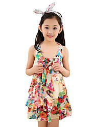 Girl's Beach Floral Dress,Nylon Summer Yellow / Beige