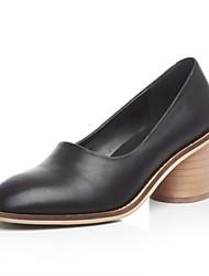 Damen-High Heels-Lässig-Leder-Blockabsatz-Komfort-Schwarz / Braun / Weiß