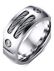 Men's Fashion Personality 316L Titanium Steel Ring Zircon Band Rings Casual/Daily Accessory 1pc