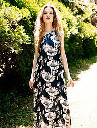 LIANGSANSHI  Women's Beach Vintage Swing Dress,Floral One Shoulder Maxi Sleeveless Blue Polyester Spring