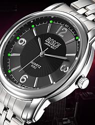 BOSCK Hombre Reloj de Vestir Cuarzo Resistente al Agua Luminoso Acero Inoxidable Banda Casual Plata Blanco Negro
