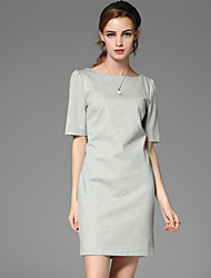 celineia sortir gaine simple dresssolid longueur manches midi col rond rayonne gris / polyester
