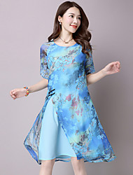Women's Casual/Daily Simple Loose Dress,Floral Round Neck Asymmetrical ½ Length Sleeve Blue Rayon Summer