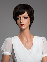 Elegant Short Straight Capless Wig With Bangs Human Hair 10 Inch