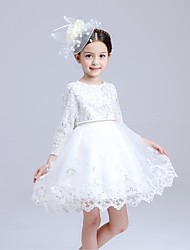 Ball Gown Knee-length Flower Girl Dress - Organza Jewel with Beading Lace