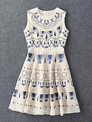 Boutique S Going out Boho Sheath DressGeometric Round Neck Knee-length Sleeveless Beige Cotton