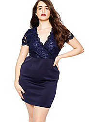 Women's Lace Navy Scalloped Lace Top Plus Size Bodycon Dress