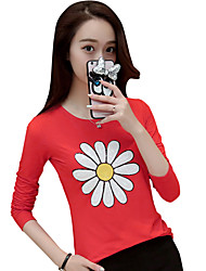 Women's Going out Cute Fall T-shirtSolid Round Neck Long Sleeve Pink / Red / Gray Cotton Sheer