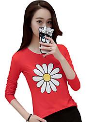 Tee-shirt Femme,Couleur Pleine Sortie Mignon Automne Manches Longues Col Arrondi Rose / Rouge / Gris Coton Transparent