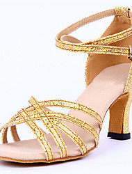 Non Customizable Women's Dance Shoes Sparkling Glitter Sparkling Glitter Latin Heels Chunky Heel Performance