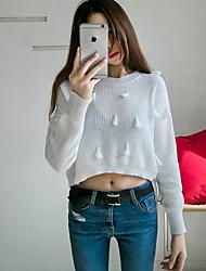 Damen Kurz Pullover-Ausgehen Niedlich Solide Blau / Weiß Rundhalsausschnitt Langarm Acryl Winter Dick Unelastisch