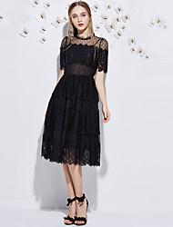 j&dentelle mignon dresssolid col rond midi manches courtes polyester noir haute taille moyenne inélastique de d femmes
