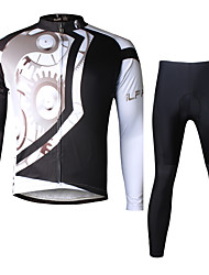 ILPALADINO Cycling Jersey with Tights Men's Long Sleeves Bike Clothing Suits Quick Dry Ultraviolet Resistant Breathable 3D Pad Reflective
