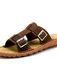 Men's Slippers & Flip-Flops Summer Comfort Leather Casual Flat Heel Brown
