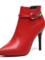 Damen-Stiefel-Büro Lässig-Pelz-Stöckelabsatz-Modische Stiefel-Schwarz Grau