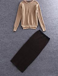 Damen Solide Einfach Ausgehen T-shirt Rock Anzüge,Rundhalsausschnitt Winter Langarm Braun Wolle / Polyester Mittel
