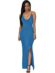 Women's Blue Crisscross Daring Back Maxi Dress