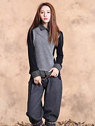 Mujer Regular Pullover Noche Vintage,Un Color / Bloques Gris Cuello Camisero Manga Larga Pelo de Conejo / Algodón / LicraPrimavera /