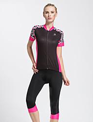 taşdan® Fahrradtriktot mit Fahrradhosen Damen Kurze Ärmel FahhradAtmungsaktiv / Rasche Trocknung / 3D Pad / Reflexstreiffen / Tasche auf
