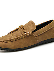 Men's Loafers & Slip-Ons Spring / Fall Comfort PU Casual Flat Heel Slip-on Green / Gray / Khaki Sneaker