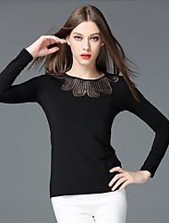 frmz sortir à manches longues sophistiquée moyenne de coton noir col rond printemps / automne t-shirtsolid