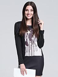 Gaine Robe Femme Décontracté / Quotidien simple,Imprimé Col Arrondi Mini Manches Longues Noir Coton Automne Taille Haute Micro-élastique