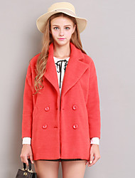 Linjou Women's Going out Cute CoatSolid Notch Lapel Long Sleeve Winter Orange Wool Thick