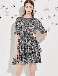 Trapèze Robe Femme Sortie Vintage,Imprimé Col Arrondi Au dessus du genou ½ Manches Noir Polyester Eté Taille Normale Non Elastique Moyen