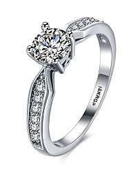 lureme Classic 18kRPG Cubic Zirconia Engagement Arrow Shape Band Ring
